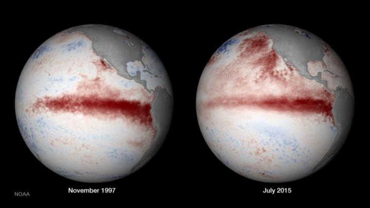 On the right, satellite composition of El Nino in 1997, and on the left, El Nino in 2015.