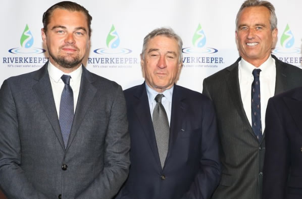Robert F. Kennedy, Jr. (right), with Leonardo Di Caprio (right) and Robert De Niro (center): Just another day of celebrities hanging out with antivaccinationists