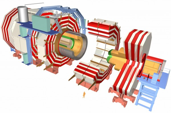 A sketch of the schematics of the CMS detector. The C stands for compact, which is hilarious because ATLAS, the other CERN detector is the ONLY particle detector in human history that's larger. Image credit: CERN.