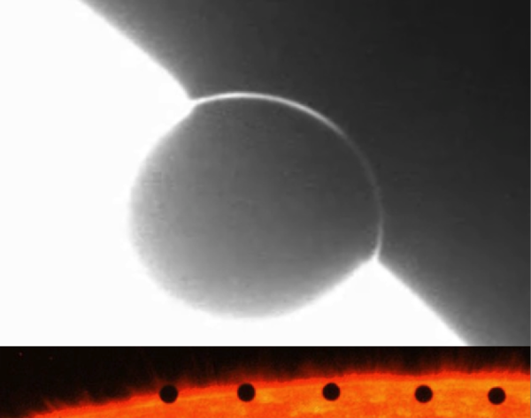 Transits of Venus (top) and Mercury (bottom) across the edge of the Sun. Note how Venus' atmosphere diffracts sunlight around it, while Mercury's lack of atmosphere shows no such effects. Images credit: NASA / SDO / HMI / Stanford Univ., Jesper Schou (top); NASA's TRACE Satellite (bottom).