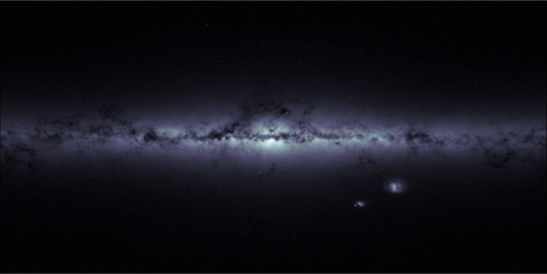 A map of star density in the Milky Way and surrounding sky, clearly showing the Milky Way, large and small Magellanic Clouds, and if you look more closely, NGC 104 to the left of the SMC, NGC 6205 slightly above and to the left of the galactic core, and NGC 7078 slightly below. Image credit: ESA/GAIA.