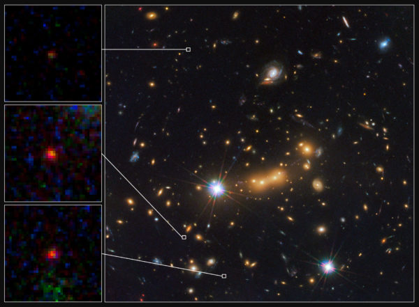 The ultra-distant, lensed galaxy candidate, MACS0647-JD, appears magnified and in three disparate locations thanks to the incredible gravity of the gravitational lens of the foreground cluster, MACS J0647. Image credit: NASA, ESA, M. Postman and D. Coe (STScI), and the CLASH Team.