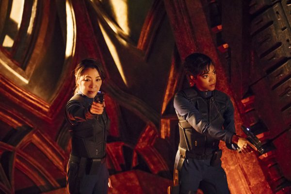 In an action-packed first two episodes, Captain Georgiou (Michelle Yeoh) and Commander Burnham (Sonequa Martin-Green) have the fight of their lives in the debut of Star Trek: Discovery. Image credit: Jan Thijs/CBS © 2017 CBS Interactive.
