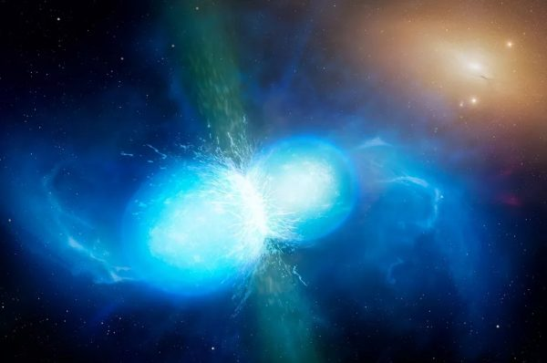 In the final moments of merging, two neutron stars don't merely emit gravitational waves, but a catastrophic explosion that echoes across the electromagnetic spectrum. Image credit: University of Warwick / Mark Garlick.